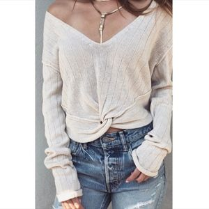 Free People cream twisted ribbed sweater